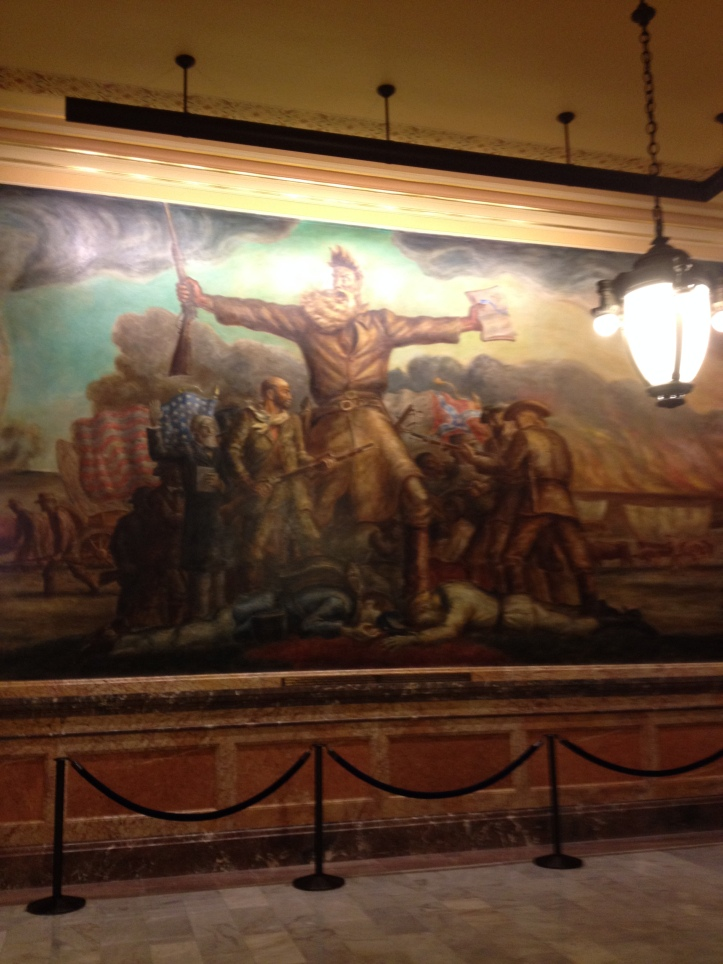 Murals of Kansas history cover the Statehouse walls. John Brown doesn't look quite so mean in this picture.