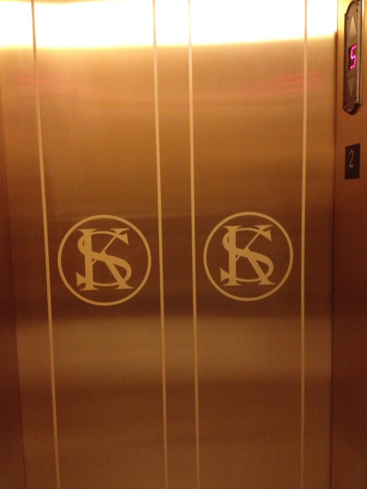 I noticed this KS logo in use all over the building, including on these elevator doors.