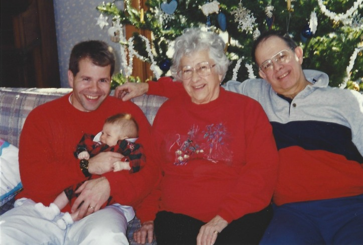 Grandma Tucker with her son, grandson, and great-granddaughter