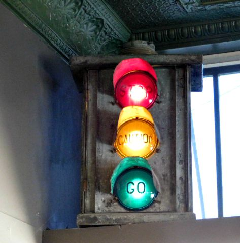 Stoplight decor at Groundhouse