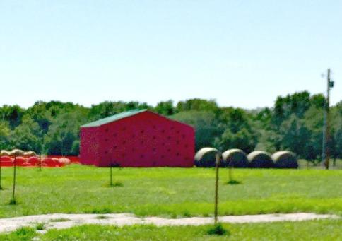 Barn painted like a watermelon